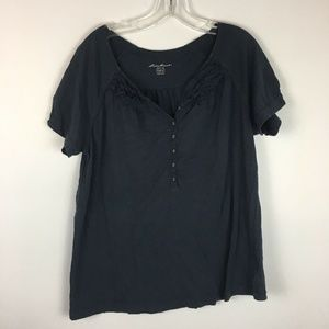 Eddie Bauer Women's Gray Blue Scoopneck Shirt